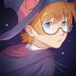 blue_eyes brown-framed_eyewear freckles glasses hat highres koban7513 little_witch_academia looking_at_viewer lotte_jansson orange_hair portrait school_uniform short_hair sky star_(sky) starry_sky under-rim_eyewear witch_hat