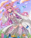 1girl :d absurdres blue_eyes blue_sky bow butterfly clouds cross-laced_clothes cross-laced_footwear dated day double_bun dress droplet fairy_wings flower frilled_sleeves frills full_body hair_bow hair_flower hair_ornament heart heart_eyes highres long_hair looking_at_viewer open_mouth outdoors pink_bow ribbon signature sky smile sparkle standing star tikeworld transparent_wings very_long_hair white_dress white_footwear wings