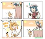 4koma :3 absurdres animal_ears artist_name asphyxiation bag black_gloves blonde_hair blush_stickers bow bucket_hat cliff clouds comic elbow_gloves feathers flying_sweatdrops foaming_at_the_mouth gloves grass greenteaneko hat highres idea kaban_(kemono_friends) kemono_friends light_bulb open_mouth orange_sky pulling reaching red_shirt rope rope_around_neck serval_(kemono_friends) serval_ears serval_print serval_tail shirt short_hair shorts sky sparkle squiggle sun t-shirt tail turn_pale twitter_username you're_doing_it_wrong |_|