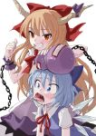 2girls bangs blue_bow blue_eyes blue_hair blush bow brown_hair chains cirno clenched_teeth fkey gourd grin hair_bow highres horn_ribbon horns ibuki_suika ice ice_wings long_hair looking_at_viewer multiple_girls pouring red_bow red_eyes ribbon simple_background skirt smile teeth thumbs_up tongue tongue_out toothpick touhou uvula very_long_hair white_background wings wrist_cuffs