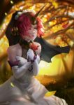1girl absurdres alov bare_shoulders berserker_of_black crying crying_with_eyes_open dress elbow_gloves fate/apocrypha fate_(series) flower gloves green_eyes highres holding holding_flower horn outdoors red_rose redhead rose sitting solo tears veil