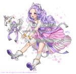 +_+ 1girl 2017 :d absurdres bow braid commission crown_braid full_body hair_bow hanbok highres korean_clothes open_mouth original purple_hair see-through smile solo staff tikeworld violet_eyes watermark web_address white_bow white_footwear