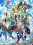 1girl cape company_name dress elbow_gloves fire_emblem fire_emblem:_seima_no_kouseki fire_emblem_cipher gloves green_eyes green_hair hand_on_hip holding holding_staff horse l'arachel mayo_(becky2006) official_art open_mouth sky solo staff thigh-highs white_dress white_gloves white_legwear