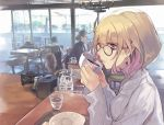 1girl bangs blonde_hair chair cup drinking_cup earrings eyebrows_visible_through_hair from_side glasses grey_sweater holding holding_cup indoors jewelry long_sleeves looking_at_viewer looking_to_the_side mole original parted_lips pink_lips pokimari restaurant ribbed_sweater short_hair sitting solo_focus sweater table tray violet_eyes