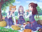 3girls :d backpack bag blanket blue_eyes blue_legwear blue_skirt brown_eyes brown_footwear brown_hair clouds cup day eating eye_contact food grass hair_over_one_eye hairband kagari_atsuko kneehighs little_witch_academia looking_at_another looking_at_viewer lotte_jansson mug multiple_girls mushroom napkin open_mouth orange_hair outdoors picnic picnic_basket plate purple_hair sandwich school_uniform shoes_removed sitting skirt smile sucy_manbavaran thermos tree twitter_username wariza yusshii