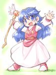 1girl :d blue_eyes blue_hair blush boots commentary_request dress freya_jerbain full_body holding holding_staff long_hair long_sleeves looking_at_viewer open_mouth outstretched_arms pink_footwear pink_vest puffy_long_sleeves puffy_sleeves sakurabe_notosu sidelocks smile solo spread_arms staff standing very_long_hair white_dress wings xak