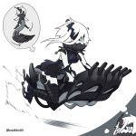 1girl ascot black_dress boots commentary_request covered_mouth dress hover_scooter hovercraft imagining kantai_collection mask ne-class_heavy_cruiser pale_skin shinkaisei-kan short_dress short_hair solo tail thigh-highs thigh_boots twitter_username uni_(gugurutan) watercraft white_hair