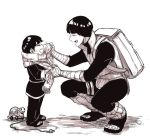2boys backpack bag boruto:_naruto_next_generations child chinese_clothes closed_eyes crying father_and_son leg_warmers male_focus metal_lee monochrome multiple_boys naruto rock_lee sandals scarf squatting toy younger