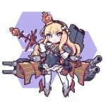 1girl azur_lane blonde_hair blue_eyes borube bow brown_hairband crown detached_sleeves dress eyebrows eyebrows_visible_through_hair flat_chest full_body gloves hair_bow hairband honeycomb_(pattern) honeycomb_background long_hair long_sleeves lowres machinery mini_crown pixel_art queen_elizabeth_(azur_lane) solo thigh-highs turret white_background white_bow white_gloves white_legwear zettai_ryouiki