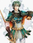 1boy armor blue_eyes cape ephraim fire_emblem fire_emblem:_seima_no_kouseki gloves green_hair highres looking_at_viewer male_focus polearm short_hair solo spear weapon