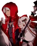 1boy 1girl :d ahoge black_gloves blush capelet cloak closed_eyes cross cross_necklace dark_skin dark_skinned_male elbow_gloves fate/apocrypha fate/grand_order fate_(series) from_side fur_trim gloves hair_ribbon headpiece hiiragi_fuyuki holding hood_up jeanne_d'arc_(fate)_(all) jeanne_d'arc_alter_santa_lily jewelry kotomine_shirou long_hair neck_ribbon necklace open_mouth red_cloak ribbon sack simple_background smile staff standing white_background white_hair yellow_eyes