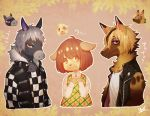 ! 1girl 2boys ? animal_ears blonde_hair brown_eyes brown_hair caramel_(doubutsu_no_mori) dog_ears doubutsu_no_mori fur_trim furry grey_hair horse_ears leaf multicolored_hair multiple_boys red_eyes ricardo_(doubutsu_no_mori) schwartz_(doubutsu_no_mori) two-tone_hair wolf_ears