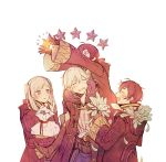 2boys 2girls a082 ahoge blue_hair blush cape carrying closed_eyes dual_persona father_and_daughter father_and_son female_my_unit_(fire_emblem:_kakusei) fire_emblem fire_emblem:_kakusei gloves hood hooded_jacket jacket long_hair male_my_unit_(fire_emblem:_kakusei) mark_(fire_emblem) mother_and_daughter mother_and_son multiple_boys multiple_girls my_unit_(fire_emblem:_kakusei) open_mouth short_hair smile twintails white_hair