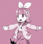 1girl :d bangs blush collared_shirt comiket_88 commentary_request cowboy_shot eyebrows_visible_through_hair flower hair_flower hair_ornament hair_ribbon high-waist_skirt jacket jewelpet_(series) jewelpet_magical_change jewelry long_hair long_sleeves looking_away monochrome open_clothes open_jacket open_mouth outstretched_arms pendant polka_dot polka_dot_background ribbon ruby_(jewelpet) sakurabe_notosu sepia shirt skirt smile solo tareme walking