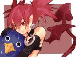 1girl bare_shoulders black_gloves choker demon_tail disgaea disgaea_d2 etna gloves hand_on_another's_head jewelry looking_at_viewer pointy_ears prinny rabbitseijin red_eyes redhead sweat tail twintails wings
