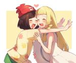 2girls beanie black_hair blonde_hair blush braid closed_eyes dress green_shorts hat heart holding holding_hat lillie_(pokemon) long_hair mizuki_(pokemon_sm) multiple_girls open_mouth outstretched_arms pokemon pokemon_(game) pokemon_sm red_hat short_hair short_sleeves shorts simple_background sleeveless sleeveless_dress sun_hat twin_braids unadayoo00 white_dress white_hat yuri