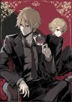 2boys arm_rest armchair black_jacket black_neckwear black_pants blonde_hair business_suit chair child_gilgamesh closed_mouth collared_shirt dual_persona earrings fate/grand_order fate_(series) formal gilgamesh grey_shirt hair_between_eyes jacket jewelry legs_crossed long_sleeves looking_at_viewer looking_to_the_side male_focus multiple_boys necktie open_clothes open_jacket pants pokimari red_eyes serious shirt sitting smile suit tuxedo wing_collar