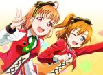 2girls :d ;d ahoge anibache arm_up black_bow blue_eyes bow clover_print crossover earrings green_neckwear hair_bow jacket jewelry kousaka_honoka long_hair love_live! love_live!_school_idol_project love_live!_sunshine!! multiple_girls necktie one_eye_closed open_mouth orange_hair red_bow red_eyes red_jacket red_neckwear short_necktie side_ponytail smile sunny_day_song takami_chika upper_body w