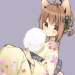 1girl ahoge animal_ears bangs blush brown_eyes brown_hair closed_mouth commentary_request cotton_candy dutch_angle eating eyebrows_visible_through_hair floral_print flower food hair_flower hair_ornament holding holding_food japanese_clothes kimono long_sleeves looking_at_viewer midorikawa_you obi original print_kimono purple_background sash short_twintails simple_background sitting solo twintails wide_sleeves yellow_kimono