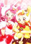 2girls :d a_la_mode_style_(precure) animal_ears arisugawa_himari bangs bow bowtie cake_hair_ornament choker collarbone commentary_request cure_custard cure_whip dress eyebrows_visible_through_hair fake_animal_ears food food_themed_hair_ornament fruit fur-trimmed_capelet fur-trimmed_gloves fur_trim gloves hair_bow hair_ornament hand_holding hand_up hat heart interlocked_fingers kirakira_precure_a_la_mode light_particles long_hair looking_at_viewer magical_girl multiple_girls open_mouth orange_hair pink_background pink_bow pink_choker pink_dress pink_hair plaid plaid_background pom_pom_(clothes) precure pudding rabbit_ears red_bow red_eyes red_neckwear revision shiny shiny_hair short_eyebrows short_sleeves smile sparkle squirrel_ears strawberry strawberry_shortcake twintails upper_body usami_ichika white_gloves white_hat yellow_bow yellow_capelet yellow_dress yellow_gloves yellow_hat yuto_(dialique)