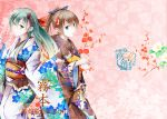 back-to-back bangs blue_eyes blue_ribbon blush brown_hair closed_mouth dated eyebrows_visible_through_hair floral_background floral_print flower from_side fudo_shin green_eyes hair_between_eyes hair_ornament hair_ribbon hand_up high_ponytail highres holding_clothes japanese_clothes kantai_collection kimono kumano_(kantai_collection) long_hair looking_at_viewer multiple_girls obi open_mouth ponytail red_ribbon ribbon sash sidelocks smile standing suzuya_(kantai_collection) very_long_hair