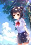1girl arms_behind_back bangs black_hair black_skirt blue_sky blush bow bowtie braid brown_eyes clouds cloudy_sky collared_shirt commentary_request copyright_name cowboy_shot day eyebrows_visible_through_hair hair_ribbon high_ponytail kimi_no_na_wa leaning_forward leaves_in_wind miyamizu_mitsuha outdoors parted_lips pleated_skirt ponytail red_neckwear red_ribbon ribbon school_uniform shirt short_sleeves skirt sky smile solo sunlight tree white_shirt xia_xiang_(ozicha)