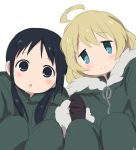 2girls :o ahoge black_gloves black_hair blonde_hair blue_eyes blush chito_(shoujo_shuumatsu_ryokou) closed_mouth eyebrows_visible_through_hair fur_trim gloves green_coat green_pants highres holding_hand hood hood_down interlocked_fingers long_hair long_sleeves looking_at_viewer multiple_girls pants parted_lips sekina short_hair shoujo_shuumatsu_ryokou simple_background smile squatting tareme white_background yuuri_(shoujo_shuumatsu_ryokou)