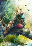 1girl blonde_hair blue_eyes boots cat circlet copyright_name force_of_will gloves grass green_eyes heterochromia komamitsu leaf official_art pointy_ears short_hair solo tree