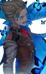 1boy blue_cape blue_eyes brown_vest buckle butterfly cape chromatic_aberration closed_mouth cravat expressionless facial_hair fate/grand_order fate_(series) gem glowing glowing_butterfly glowing_eyes grey_hair highres james_moriarty_(fate/grand_order) kashu_(hizake) light_trail long_sleeves looking_at_viewer male_focus mustache red_neckwear shirt side_glance signature solo vest white_background white_shirt