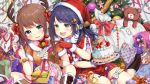 2girls :3 :d absurdres animal_ears antlers bangs bell bell_collar blue_eyes blue_hair blush boots bow bowtie box brown_dress brown_footwear brown_hair capelet christmas christmas_ornaments christmas_tree collar commentary_request crescent cross-laced_footwear dress eyebrows_visible_through_hair feeding food food_on_face food_themed_hair_ornament fork fruit fur-trimmed_boots fur-trimmed_capelet fur-trimmed_dress fur-trimmed_gloves fur-trimmed_hat fur_trim gift gift_box gingerbread_man gingerbread_man_hair_ornament gloves green_eyes hair_ornament hair_ribbon hairclip hat highres holding holding_fork knee_boots lace-up_boots long_hair macaron multiple_girls open_mouth original parted_lips pleated_skirt pom_pom_(clothes) pomu red_capelet red_collar red_gloves red_hat red_neckwear red_ribbon red_shirt red_skirt reindeer_antlers reindeer_ears ribbon sack santa_costume santa_gloves santa_hat shirt short_sleeves signature sitting skirt smile star star_hair_ornament strawberry strawberry_shortcake stuffed_animal stuffed_bunny stuffed_toy teddy_bear toy toy_airplane toy_robot twintails v-shaped_eyebrows