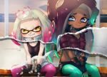 2girls breasts cephalopod_eyes dark_skin domino_mask highres hime_(splatoon) iida_(splatoon) kashu_(hizake) long_hair mask mole mole_under_mouth multicolored multicolored_skin multiple_girls octarian pink_hair pink_pupils short_hair small_breasts smile splatoon splatoon_2 suction_cups tentacle_hair white_hair zipper_pull_tab