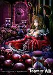 1girl blonde_hair blood breasts cleavage copyright_name fang force_of_will gloves green_eyes instrument jewelry long_hair necklace official_art pipe_organ skull upper_body vampire window