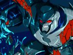 1boy arm_cannon artist_request blue_background cannon decepticon evil_smile glowing grin injury looking_at_viewer megatron megatron_(prime) no_humans personification red_eyes smile solo teeth transformers transformers_prime upper_body weapon