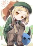 1girl babe_(fate) bangs boots closed_mouth collared_shirt cura dot_nose fate/grand_order fate_(series) full_body gloves green_hat green_jacket grey_footwear grey_gloves grey_legwear hat head_tilt jacket long_hair looking_at_viewer orange_eyes outdoors pantyhose parted_bangs paul_bunyan_(fate/grand_order) shirt short_hair smile solo squatting sun wing_collar