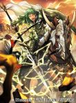 1boy armor armored_boots boots cape company_name electricity faceless faceless_male fire_emblem fire_emblem:_seima_no_kouseki fire_emblem_cipher gloves green_eyes green_hair horns horse kyle_(fire_emblem) male_focus nagahama_megumi official_art open_mouth polearm rock shield sky solo spear teeth weapon