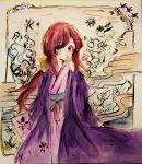 1girl absurdres bow covering_mouth egasumi flower hair_bow highres japanese_clothes kimono kotohime layered_clothing layered_kimono margarine0922 obi red_eyes redhead sash touhou touhou_(pc-98) traditional_media