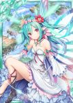 1girl akkijin aqua_hair blue_sky boots breasts butterfly_wings card_(medium) dress flower hair_flower hair_ornament island jewelry necklace pixie_servant_(shinkai_no_valkyrie) pointy_ears red_eyes shinkai_no_valkyrie sitting sky small_breasts solo white_dress wings