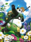 1boy bag blue_eyes butterfly copyright_name flower force_of_will fukuzou furry grass hat lamp leaf male_focus official_art panda panda_tail sandals sky solo sun