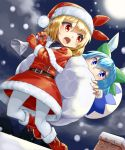 2girls alternate_costume araki_(qbthgry) belt belt_buckle blonde_hair blue_dress blue_eyes blue_hair boots bow buckle capelet carrying_over_shoulder chimney cirno dated detached_wings dress eyebrows_visible_through_hair fang flying fur-trimmed_boots fur_trim gloves green_bow hair_bow hat ice ice_wings long_sleeves looking_at_another multiple_girls on_roof outdoors over_shoulder pantyhose red_dress red_eyes red_footwear red_gloves red_hat red_ribbon ribbon rumia santa_boots santa_costume santa_hat short_hair signature snowing tareme touhou white_legwear wings