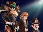 1girl 2boys absurdres arm_cannon armor blonde_hair blue_eyes brown_hair cappy_(mario) dysah facial_hair formal highres link looking_at_viewer mario mario_(series) metroid multiple_boys mustache nintendo ponytail power_armor samus_aran short_hair shoulder_pads smile suit super_mario_bros. super_mario_odyssey super_smash_bros. the_legend_of_zelda the_legend_of_zelda:_breath_of_the_wild varia_suit weapon