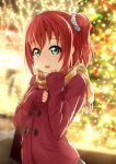 1girl :d aqua_eyes bangs blurry blurry_background christmas_lights coat diffraction_spikes hair_ornament highres kurosawa_ruby long_sleeves looking_at_viewer love_live! love_live!_sunshine!! open_mouth polka_dot polka_dot_scrunchie prbili red_coat redhead scarf scrunchie sleeves_past_wrists smile solo two_side_up upper_body winter_clothes