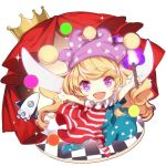 1girl american_flag_dress american_flag_legwear blonde_hair checkered checkered_floor chibi clownpiece crown curtains fairy_wings fire hat jester_cap long_hair neck_ruff no-kan open_mouth pantyhose pink_eyes polka_dot simple_background smile solo space_craft star star_print striped torch touhou very_long_hair white_background wings