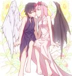 1boy 1girl angel_wings bangs barefoot black_collar black_hair black_wing blue_horns breasts chain_necklace chains cleavage closed_eyes collar collarbone commentary_request couple darling_in_the_franxx demon_wings dress flower forehead-to-forehead hair_flower hair_ornament hetero highres hiro_(darling_in_the_franxx) horns jewelry leje39 long_hair medium_breasts necklace oni_horns pink_dress pink_hair red_horns short_hair single_wing sitting sleeveless sleeveless_dress wings zero_two_(darling_in_the_franxx)