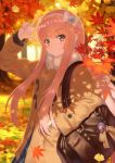 1girl arm_up autumn autumn_leaves bag bag_charm bangs blue_skirt bow brown_coat brown_eyes charm_(object) coat collared_shirt commentary_request day eyebrows_visible_through_hair fate/grand_order fate_(series) fur_collar hairband hand_in_pocket head_tilt highres kaina_(tsubasakuronikuru) long_hair long_sleeves looking_at_viewer medb_(fate/grand_order) outdoors parted_lips pink_hair shirt skirt smile solo tree v v-shaped_eyebrows very_long_hair white_bow white_hairband