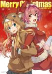 2girls abukuma_(kantai_collection) anchor_earrings animal_costume antlers blonde_hair blue_eyes breasts christmas gloves hat highres kantai_collection kinu_(kantai_collection) konishi_(koconatu) long_hair looking_at_viewer merry_christmas multiple_girls official_art open_mouth orange_eyes pink_hair reindeer_antlers reindeer_costume santa_costume santa_hat short_hair thigh-highs twintails