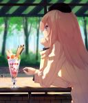 1girl arm_support blonde_hair blue_eyes casual cherry day eyebrows_visible_through_hair food forest from_side fruit garrison_cap girls_und_panzer glint hand_on_own_chin hat head_rest holding holding_spoon ice_cream itsumi_erika kongeraatio long_hair long_sleeves looking_afar nature outdoors profile shade solo spoon strawberry sundae sunlight sweater table tree upper_body white_sweater