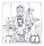 5girls ^_^ akemi_homura arm_support closed_eyes drill_hair eyebrows_visible_through_hair graphite_(medium) jewelry kaname_madoka kneehighs legs_crossed long_hair mahou_shoujo_madoka_magica miki_sayaka mitakihara_school_uniform multiple_girls ponytail renji_(orange_ize) ring sakura_kyouko school_uniform shaded_face smile teapot thigh-highs tomoe_mami traditional_media