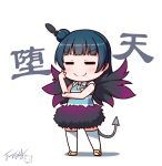 1girl blue_hair blush chibi closed_eyes collared_shirt demon_tail eyebrows_visible_through_hair feathers full_body hair_bun hair_feathers langbazi love_live! love_live!_sunshine!! multicolored multicolored_wings shadow shirt shoes signature smile solo standing striped striped_shirt tail thigh-highs tsushima_yoshiko v v-shaped_eyebrows white_background white_legwear wing_collar wings