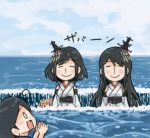 4girls ahoge blue_sky closed_eyes clouds comic commentary_request detached_sleeves fusou_(kantai_collection) hair_ornament hands_together japanese_clothes kantai_collection long_hair long_sleeves michishio_(kantai_collection) multiple_girls nontraditional_miko obi ocean open_mouth otoufu sash short_hair sidelocks sky smile surprised translation_request ushio_(kantai_collection) whirlpool wide_sleeves yamashiro_(kantai_collection)