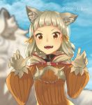1girl :d animal animal_ears bangs blue_sky blunt_bangs blurry bodysuit breasts byakko_(xenoblade) cat_ears clouds depth_of_field diamond_(shape) eyebrows eyelashes facing_viewer fangs gem gloves grey_hair highres hood hood_down looking_at_viewer niyah open_mouth orange_bodysuit orange_eyes orange_ribbon outdoors pochi_(0523meiken) ribbed_bodysuit ribbon short_hair sky small_breasts smile solo spikes teeth tiger tongue tsurime turtleneck twitter_username upper_body white_gloves white_tiger xenoblade xenoblade_2